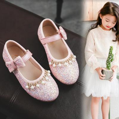 亮片軟底兒童水晶單鞋