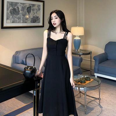 2020新款黑色性感吊带裙