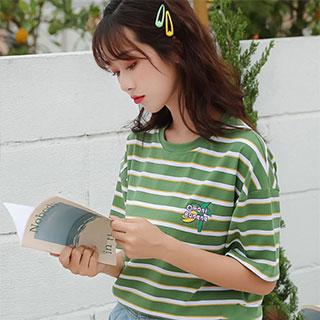 拍2韩版条纹纯棉T恤