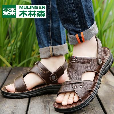 木林森男士真皮凉鞋