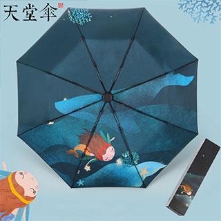 黑膠晴雨兩用防曬折疊傘