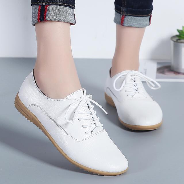 真皮軟底女鞋平底小白鞋