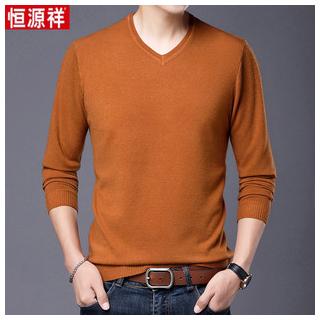 男士秋季薄款V领针织衫