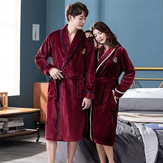 法蘭絨浴袍長款情侶睡袍