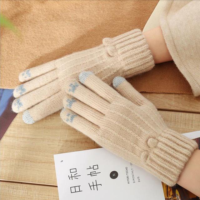 雙層加絨加厚針織手套