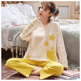 純棉長袖睡衣兩件套