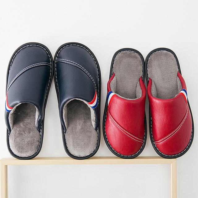 居家棉拖鞋情侣pu皮拖鞋