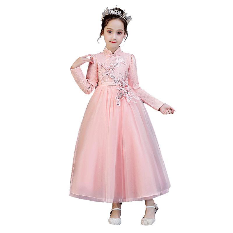 女童汉服加绒唐装古装连衣裙