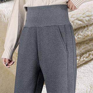 保暖外穿高腰仿羊羔毛裤子