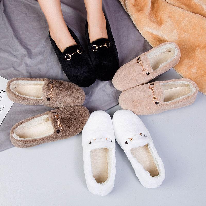 网红羊羔毛加绒豆豆鞋