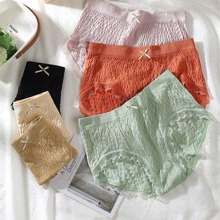 木棉抗菌蕾丝中腰内裤3条