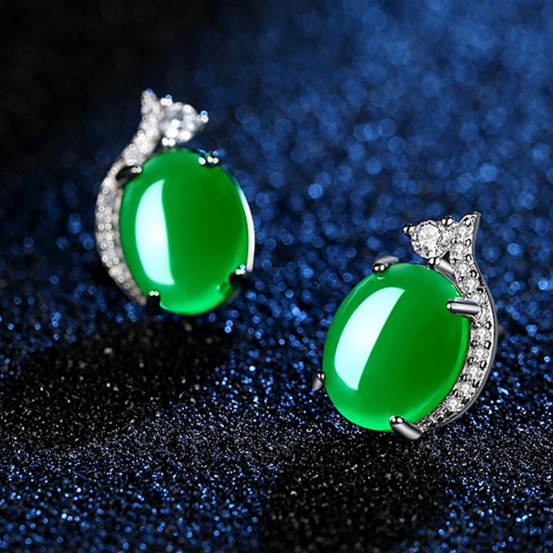 S925银时尚韩版祖母绿耳钉