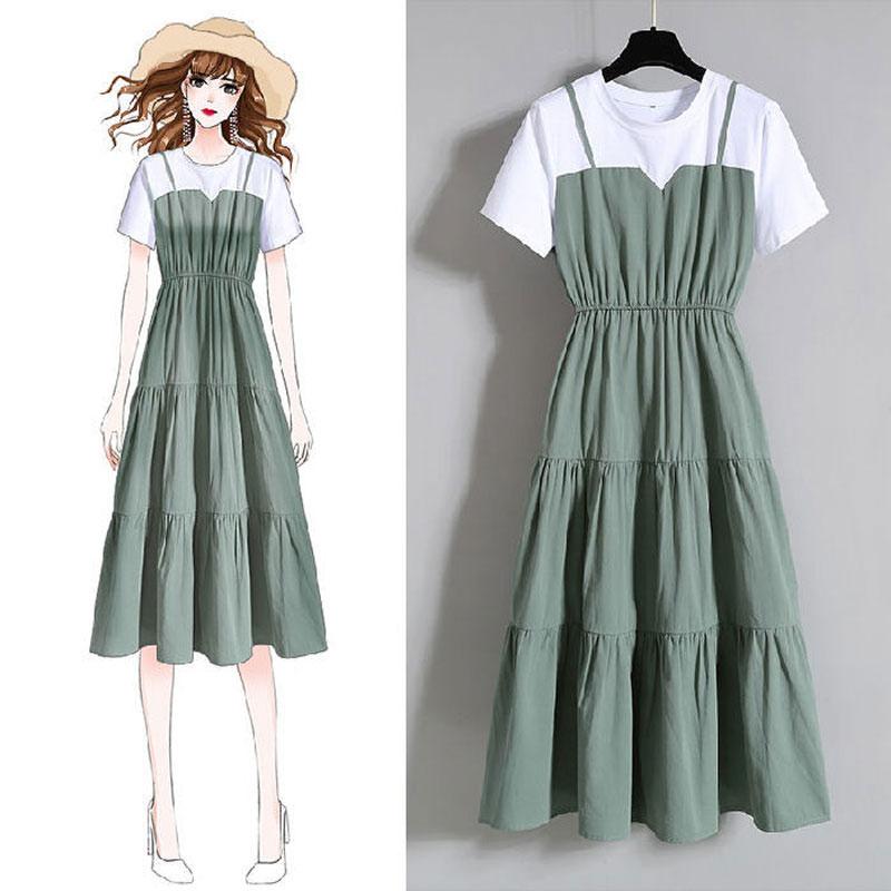 大码女装时尚吊带假两件长裙