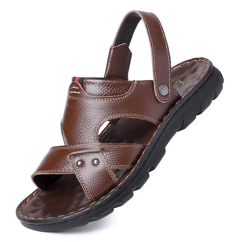 男士沙滩鞋真皮休闲凉鞋
