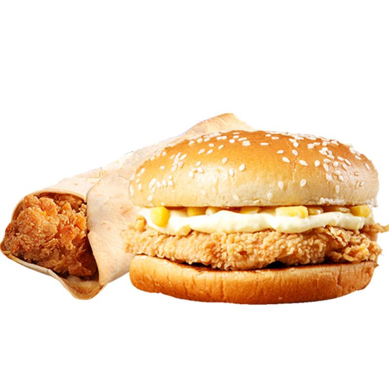 香辣汉堡包+鸡肉卷早餐即食6个