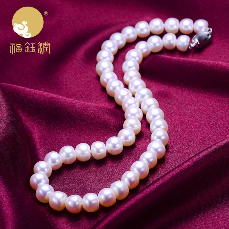 白色强光淡水扁圆珍珠项链