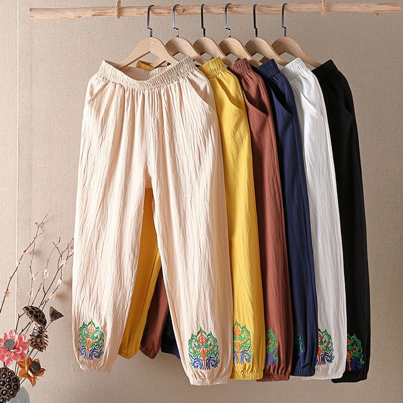夏季棉麻灯笼裤
