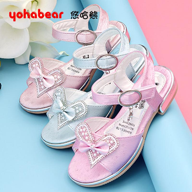 儿童凉鞋女亮钻公主鞋