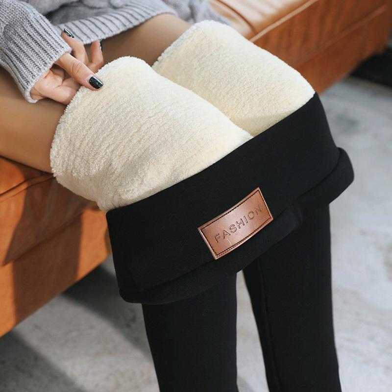 加绒加厚显瘦羊羔绒打底裤